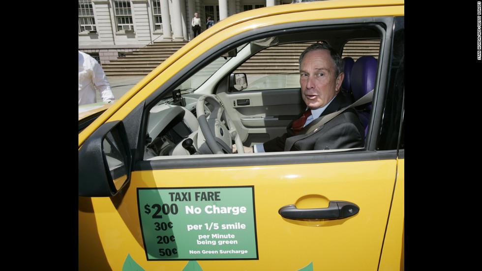 "Bloomberg sits in a Ford Escape hybrid taxicab donated by Yahoo after he announced in May 2007 that the city's taxi fleet would be fully hybrid by 2012. The plan fell through after judges ruled in 2008 that the city couldn't penalize taxi drivers who didn't use hybrid cars, according to The <a href=""http://cityroom.blogs.nytimes.com/2008/10/31/judge-blocks-hybrid-taxi-requirement/?gwh=87B27602188FCD143F612C0D9B43B4CC"" target=""_blank"">New York Times</a>."