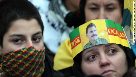 Supporters of militant Kurdish leader Abdullah Ocalan gather at a gathering in March 2013.