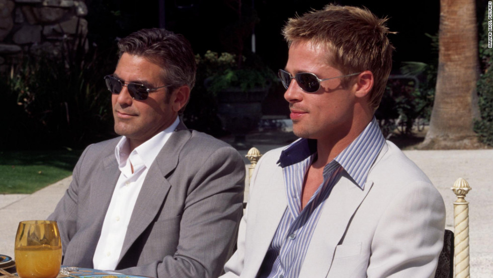 "Brad Pitt, right, and George Clooney, who starred together in the ""Ocean's Eleven"" franchise, are known for being friends off-screen. They also co-starred in 2008's ""Burn After Reading."""