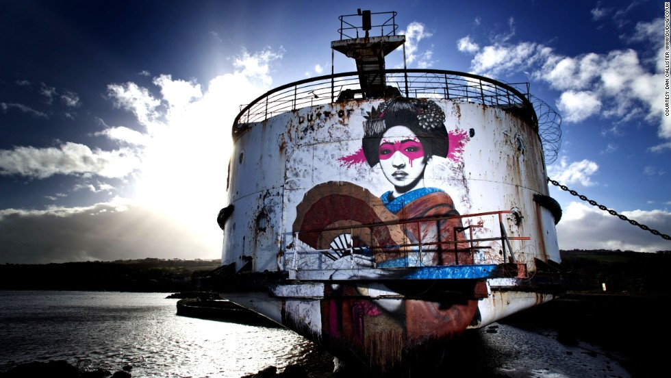 "Irish artist <a href=""http://findac.tumblr.com/"" target=""_blank"">Fin Dac</a>, created this piece, called ""Mauricamai,"" which stretches the height of the ship's stern. ""I create my art to keep myself happy. If others like it then that's a great by-product,"" he said."