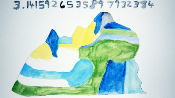March 14 is Pi Day, 3-14! Daniel Tammet painted this picture of how he sees the first 20 digits of pi. He set the European record for memorizing and reciting digits in 2004.