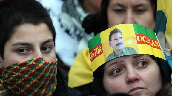 Supporters of militant Kurdish leader Abdullah Ocalan at a gathering in March 2013.
