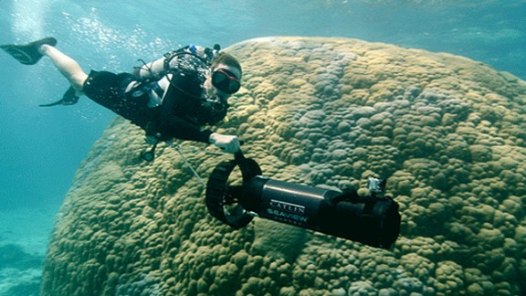 In Going Green: Oceans, Philippe Cousteau (pictured) joins the Catlin Seaview Survey team as they map the Great Barrier Reef. Watch on Friday March 29 at 15:30 GMT (11:30 ET).