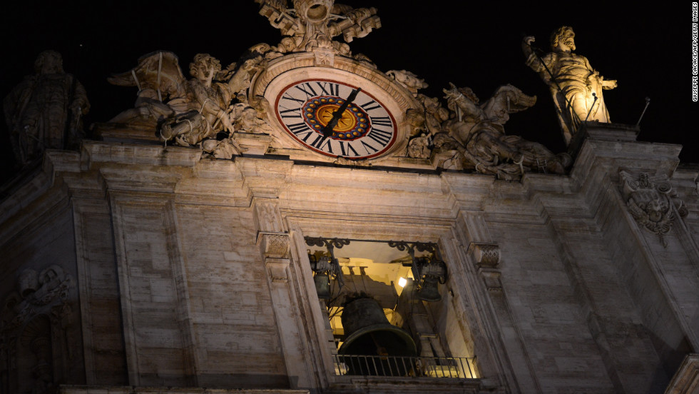 Bells ring at St. Peter's Basilica after white smoke billowed from the chimney.