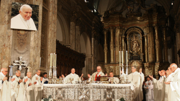 Cardinal Bergoglio, center, officiates a Holy Mass for the eternal rest of Pope John Paul II on April 5, 2005, at Buenos Aires