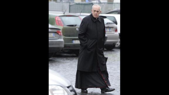 Bergoglio arrives for the congregation meeting at Synod Hall in the Vatican on March 7.
