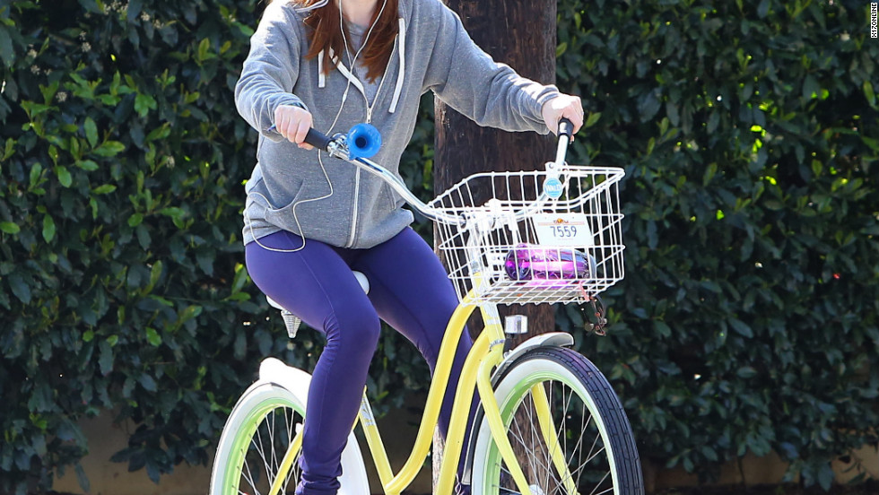 Alyson Hannigan rides her bike in Santa Monica.
