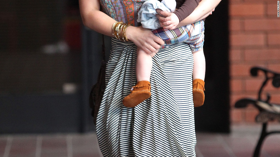 Hilary Duff heads out with her baby boy in Sherman Oaks, California.