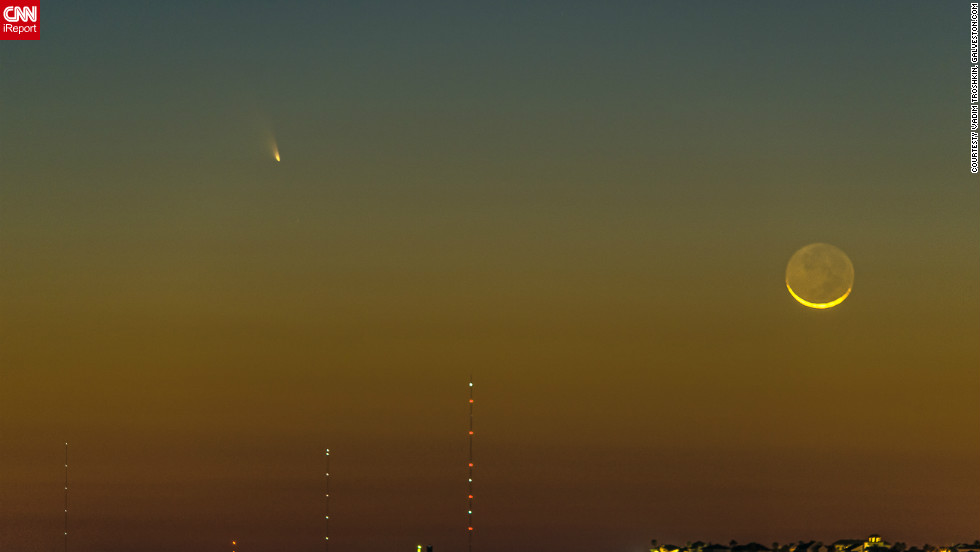 "Comet Pan-STARRS was visible to many stargazers on March 12. In Galveston, Texas, web designer Vadim Troshkin shot this photo for Galveston.com and said he was glad to see the comet during ""such a beautiful sunset."""