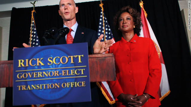 Florida Gov. Rick Scott and Lt. Gov. Jennifer Carroll in 2010, when both were elected to their posts.