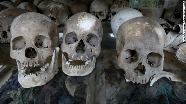 The skulls of Khmer Rouge victims on display in Cambodia. Ieng Sary, one of the regime's leaders, died Thursday while on trial.