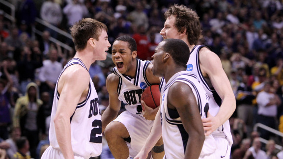 From left, Gordon Hayward, Ronald Nored, Shelvin Mack and Matt Howard of the Butler Bulldogs celebrate after defeating the Murray State Racers 54-52 in the second round of the NCAA men