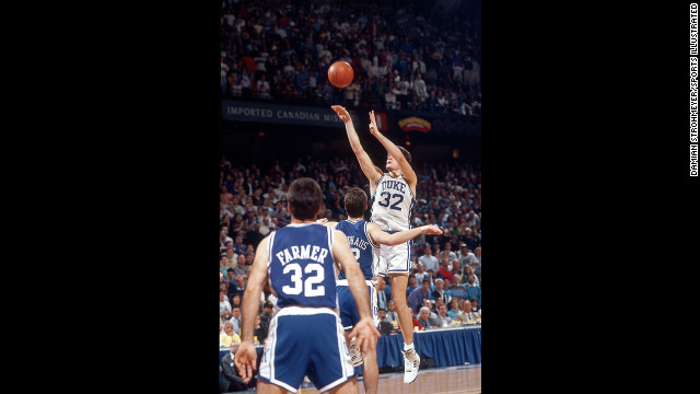 Duke's Christian Laettner hit the game-winning shot against Kentucky in 1992 as time expired. Minutes earlier, he had stomped on Kentucky's Aminu Timberlake, and many feel he should have been ejected.
