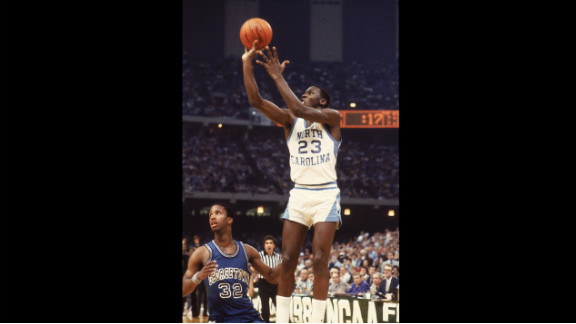 Michael Jordan of the University of North Carolina at Chapel Hill takes the game-winning shot to beat Georgetown 63-62 in the final of the NCAA tournament in New Orleans on March 29, 1982.