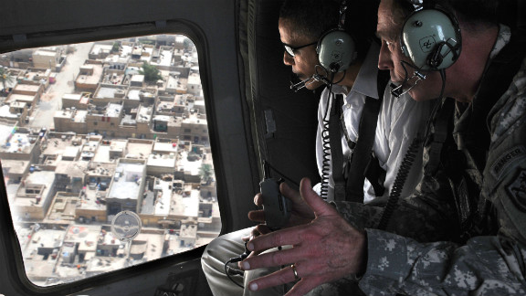 Democratic presidential candidate Sen. Barack Obama flies over Baghdad with Gen. David Petraeus during a tour on July 21, 2008.