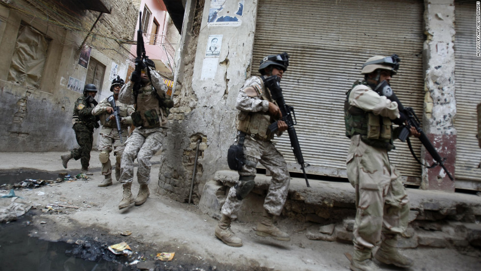Iraqi army special forces patrol Baghdad's al-Fadel district on March 30, 2009. U.S.-backed Iraqi forces clashed with anti-al-Qaeda militants known as the Awakening Council, or Sahwa, after fighting erupted following the arrest of Adel Mashhadani, a Sahwa leader.