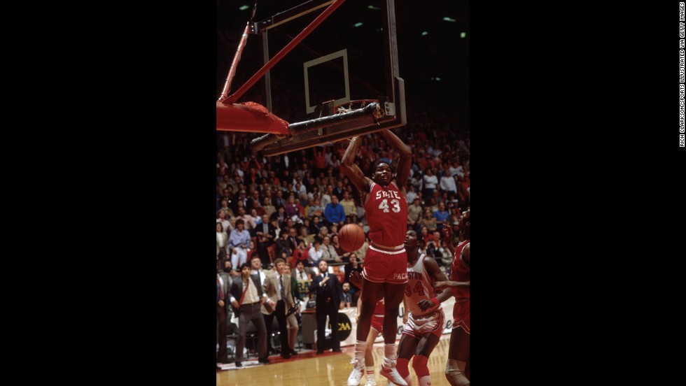 Lorenzo Charles' dunk at the buzzer gave North Carolina State a stunning upset victory over Houston in the 1983 championship game.