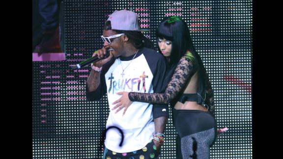 Lil Wayne and Nicki Minaj perform during Minaj