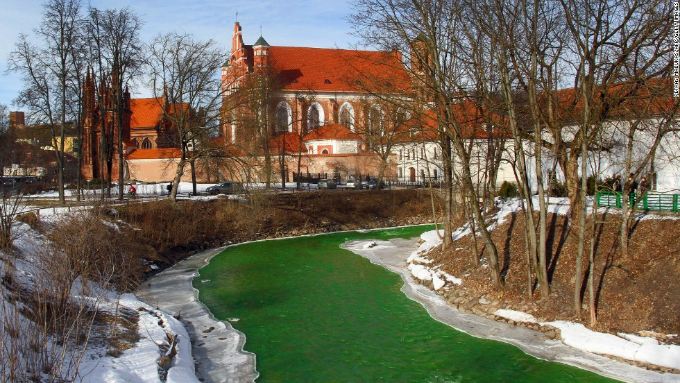 The Vilnele River is colored green to celebrate St. Patrick's Day in Vilnius, Lithuania, on March 16.
