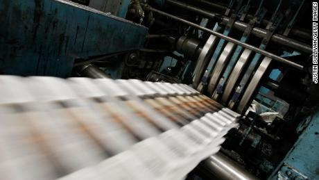 SAN FRANCISCO - SEPTEMBER 20: Freshly printed copies of the San Francisco Chronicle roll off the printing press at one of the Chronicle's printing facilities September 20, 2007 in San Francisco, California. Newspaper sales in the U.S. continue to slide as people turn to the internet and television for their news. The Chronicle saw its circulation plunge more than 15 percent in 2006 to 398,000 during the week which has hurt newspaper vendor Rick Gaub's business. Unable to sell as many papers as he used to, Gaub is looking for a new way to earn money after selling papers for 42 years. (Photo by Justin Sullivan/Getty Images)