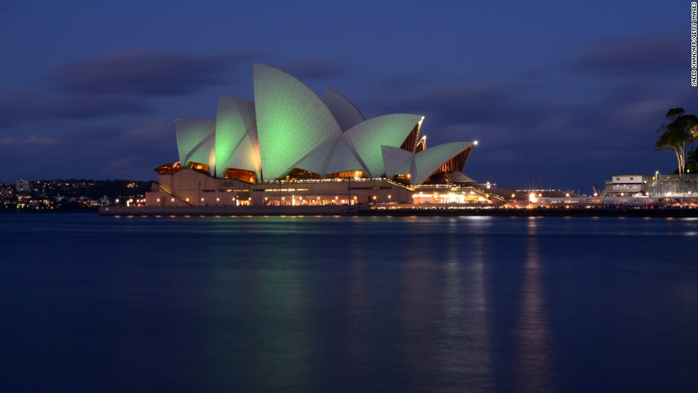 Australia's iconic Sydney Opera House is illuminated with green lights to mark St. Patrick's Day on March 17.