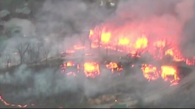 Massive Fire Threatens Dozens Of Cabins Cnn Video