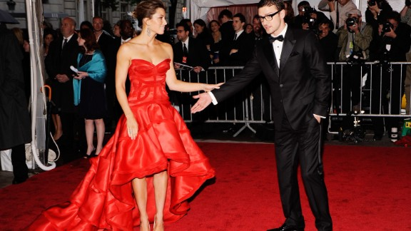 Timberlake and actress Jessica Biel, who were first linked in 2007, attend the Met Gala in 2009.