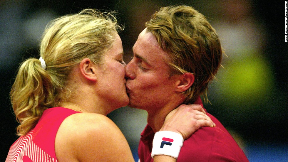 "Lleyton Hewett and Kim Clijsters, both former world No. 1 tennis champions, met at the Australian Open in 2000, reportedly after Kim's sister Elkie asked her to get Lleyton's autograph. They announced their engagement in 2003 but split in October 2004. Both decried the ""malicious gossip"" that followed their separation. Pictured, the two kiss after Hewitt defeated his fiance in an exhibition match, 2004."