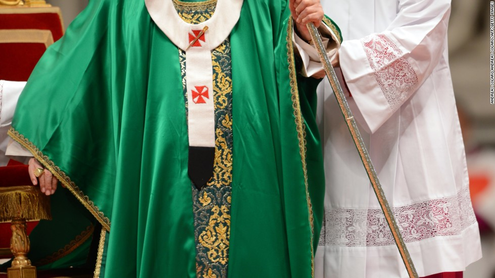"Pope Benedict XVI wears a green chasuble in October, 2012. A chasuble is a liturgical vestment worn by all priests, including the pope, when saying mass, Beck said. There are a few liturgical seasons in the church, he said, each of which is associated with a color of chasuble. Green is the color worn most Sundays, known as ""ordinary time,"" essentially, not during Advent, Lent or Easter."