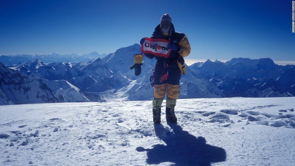 Pasaban, seen here at the summit of Cho Oyo in 2002, is now working as an executive coach and lecturer, and runs her own travel agency. She also plans to climb more 6,000 and 7,000 meter mountains, particularly in Tibet.