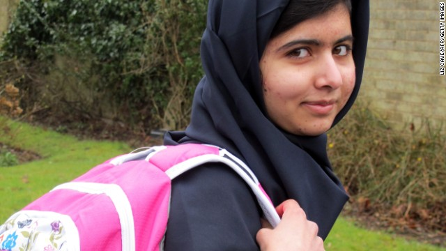 Malala Yousafzai in Birmingham, England, in 2013 before returning to school for the first time since she was shot in the head by the Taliban.