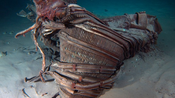 """This is a nozzle. """"We've seen an underwater wonderland -- an incredible sculpture garden of twisted F-1 engines that tells the story of a fiery and violent end, one that serves testament to the Apollo program,"""" Bezos said on his website."""