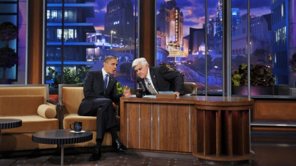 Leno returned in March 2010. Here, Leno chats with President Barack Obama in October 2012.