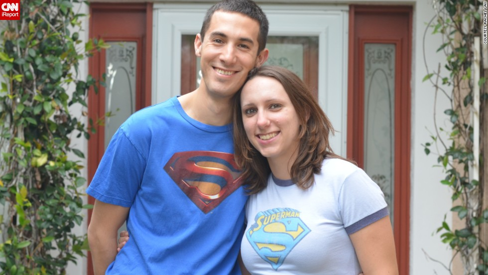 "<a href=""http://ireport.cnn.com/docs/DOC-932419"">Rachel Lau</a> met her husband Chad while waiting in line at a Superman convention. They were both wearing Superman T-shirts at the time. On their wedding day, she says Chad decided to wear his Superman shirt underneath his tuxedo to honor their special connection."