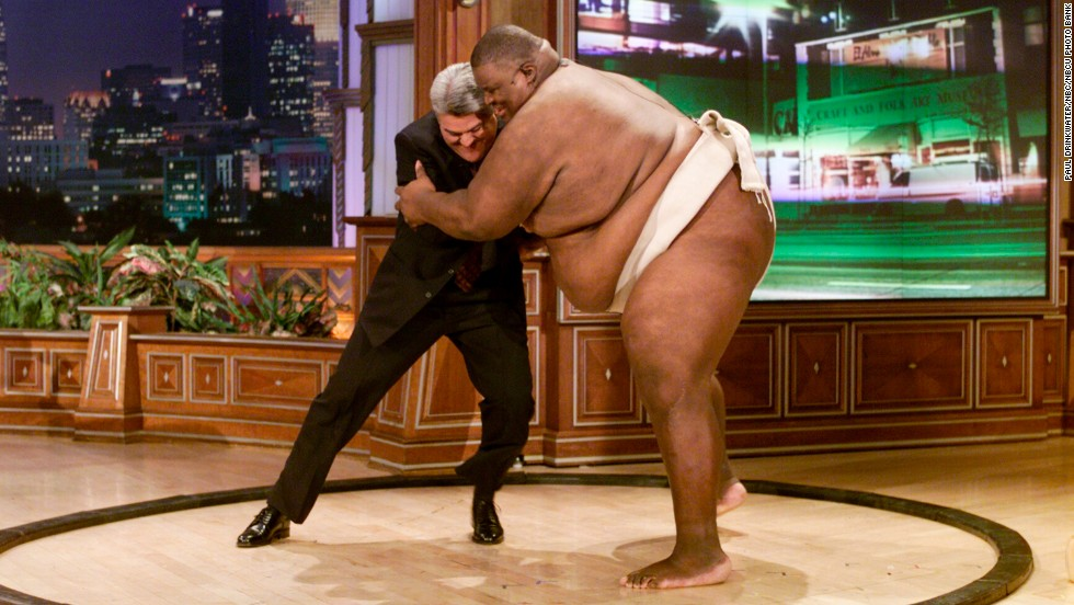 Leno and sumo wrestler Manny Yarborough on February 16, 2000.