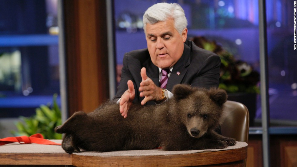 Leno with a Kodiak bear cub on May 16.