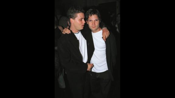 The late Corey Haim (left) and Corey Feldman pose outside Las Palmas club October 17, 2001 in Hollywood, CA. Feldman says in his new book that Haim was molested.