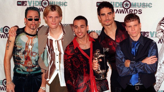 """The Backstreet Boys -- who are back, by the way -- won the devotion of scores of fans with sweet songs like """"Quit Playing Games (With My Heart)"""" and """"As Long As You Love Me."""" From left: A.J. McLean, Nick Carter, Howie Dorough, Kevin Richardson and Brian Littrell at the MTV Video Music Awards in 1998."""