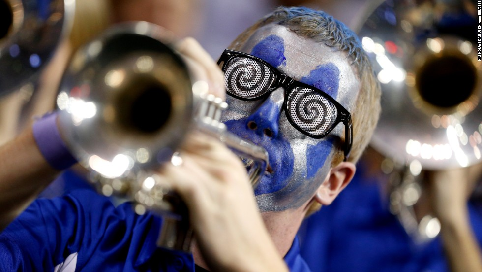 A member of the band for the Memphis Tigers performs during the March 21 game against the St. Mary's Gaels.