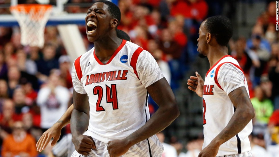 Montrezl Harrell of the Louisville Cardinals reacts after a turnover against the North Carolina A&T Aggies on March 21 in Lexington, Kentucky.