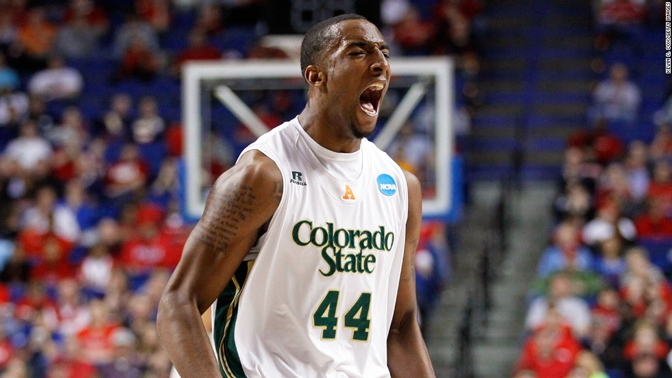 Greg Smith of Colorado State reacts after a basket by his team against Missouri on March 21.