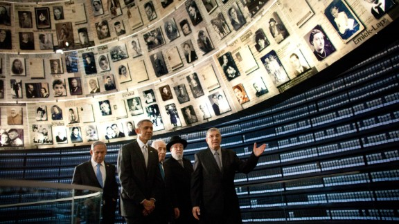 """President Barack Obama visits the Hall of Names at the <a href=""""http://www.yadvashem.org/"""" target=""""_blank"""" target=""""_blank"""">Yad Vashem Holocaust memorial</a> with Israeli Prime Minister Benjamin Netanyahu, left, Israeli President Shimon Peres, center, Rabbi Yisrael Meir Lau and Avner Shalev, the museum's director, on Friday, March 22, in Jerusalem.  As part of his Mideast tour, Obama wrapped up his first trip to Israel as president and arrived in Jordan, another key ally, on Friday."""