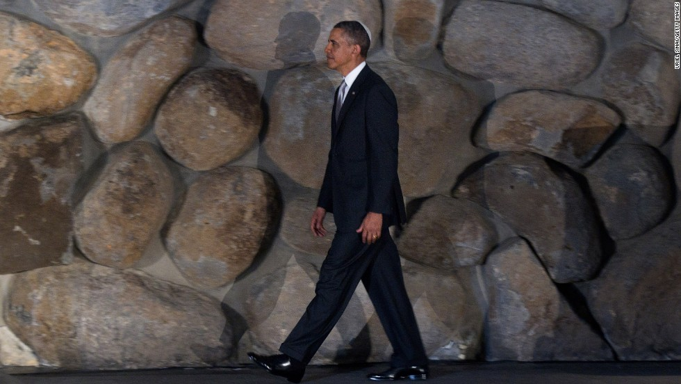 "Obama visits Yad Vashem on March 22. The president turned up the ""eternal flame"" of remembrance for the millions of Jewish victims of Nazi death camps."