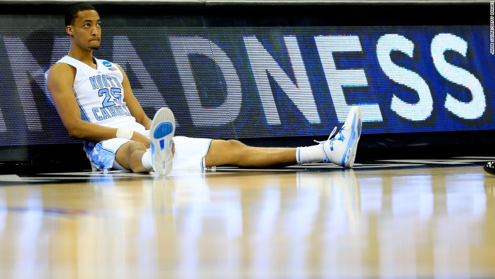 J.P. Tokoto of the North Carolina Tar Heels waits to be substituted into the game in the first half against the Villanova Wildcats on March 22.
