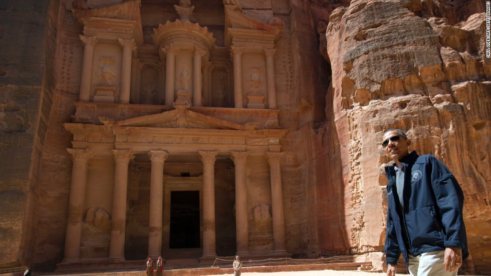 U.S. President Barack Obama tours the Treasury at the ancient city of Petra, in Jordan, on Saturday, March 23. Obama arrived in Jordan on March 22, on the last leg of a Middle East tour after challenging Israelis to embrace peace with Palestinians.