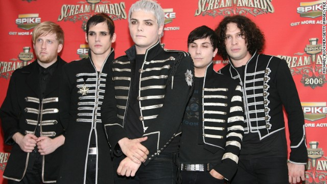 "The band My Chemical Romance pose in the press room for Spike TV's ""Scream Awards 2006"" in Los Angeles."