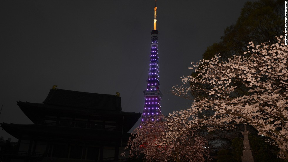 This photo combo shows the landmark Tokyo Tower beside the Zozoji Temple illuminated before Earth Hour.
