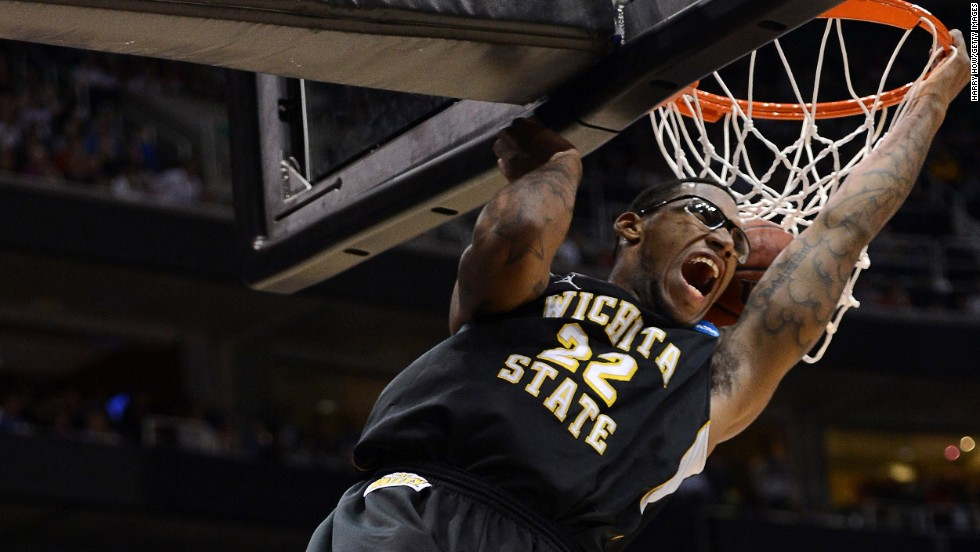 Carl Hall of Wichita State dunks while taking on the Gonzaga Bulldogs on March 23.