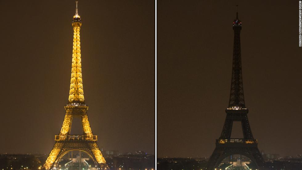 Photosshows The Eiffel Tower submerging into darkness at 8:30 pm local time as part of the Earth Hour switch-off.