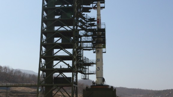 A closer look at the UNHA III rocket on its launch pad in Tang Chung Ri, North Korea.